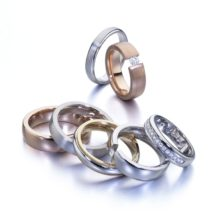 Set of white gold rings, combined and red gold with diamonds, LK