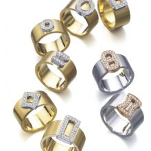 Wide yellow and white gold rings with diamonds of LK