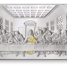 Altarpiece with scene of the last supper, in silver, of Italsilver.