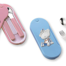 Two piece cutlery for babies, resin and silver (exterior)