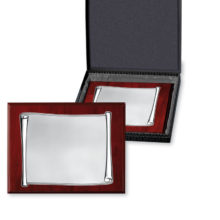 Homage in wooden plates, Silver and presentation case. Of Italsilver.