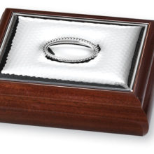 Wooden box with silver plate
