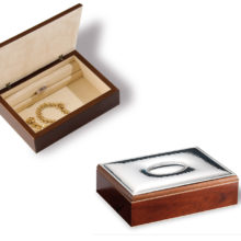 Wooden box with silver sheet to record.
