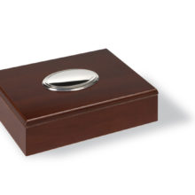 Wooden box with silver top