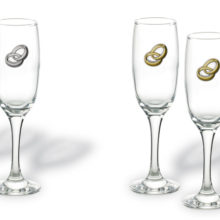 Set of glasses of champagne for anniversaries of weddings.
