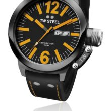 Tw Steel CEO watch ref. CE 1028 steel plated in black and black dial Orange details (three needles)