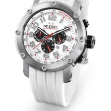 TW Steel watch ref. TW 123 chronograph in steel and white