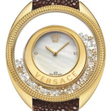 Reloj Versace Destiny Precious color marrón con diamantes