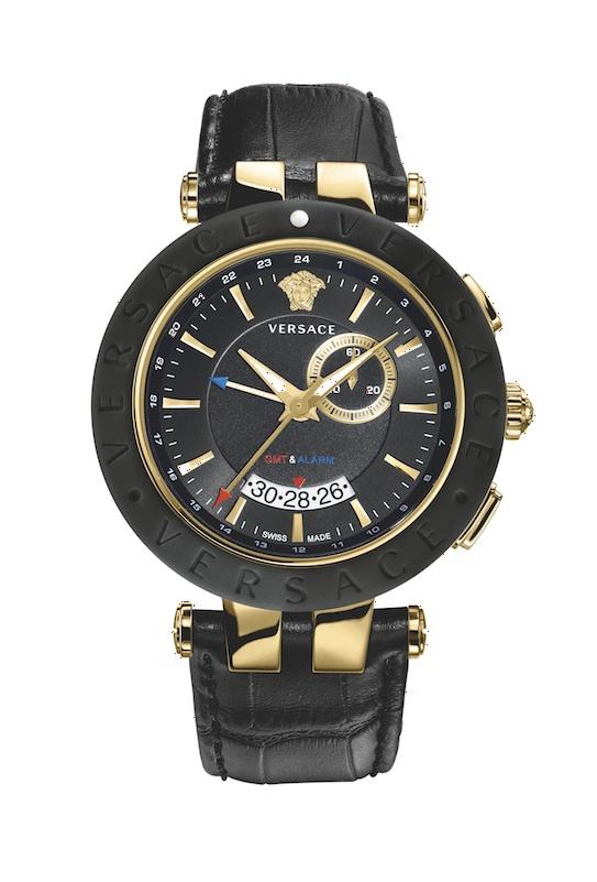 Reloj Versace V,Race para hombre, tres agujas y GMT, con bisel cerámica.
