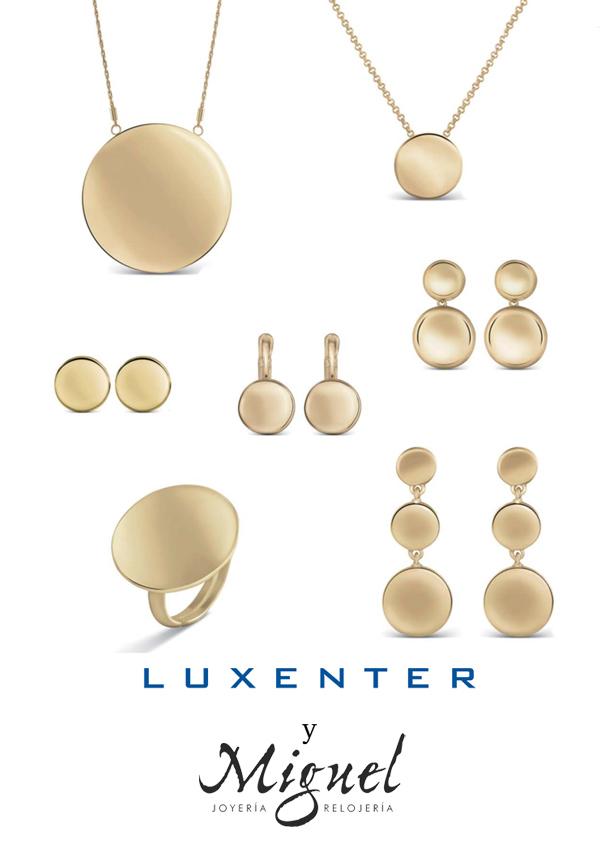 Colección Luxenter en metal dorado, formas redondas.