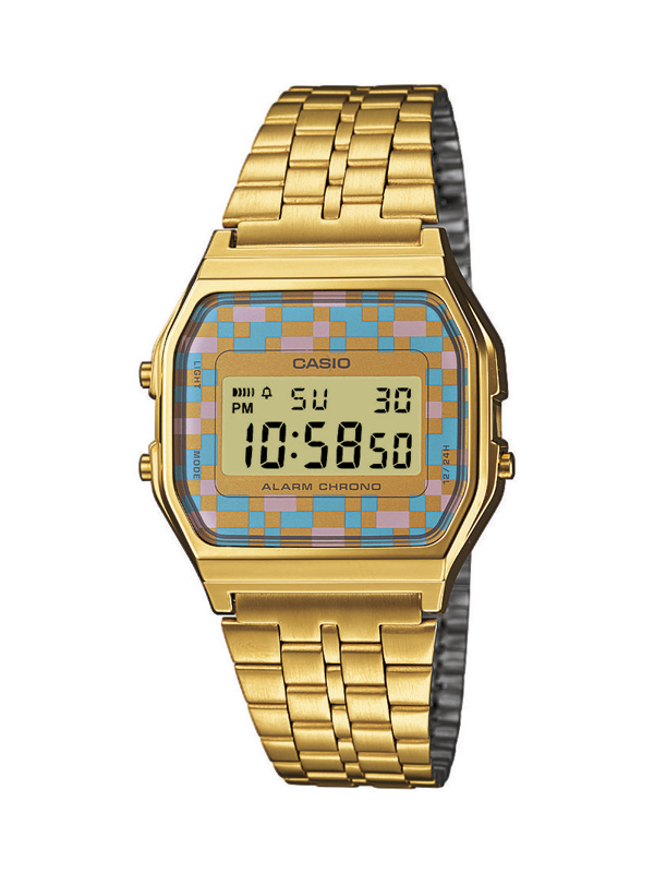 e25865bab5f5 Reloj Casio Retro dorado con pantalla pixelada en colores pasteles  A159WGEA-4AEF
