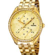 Watch Festina Lady golden yellow, with stones in bezel; F16743-2