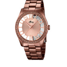 Lotus Trendy woman watch, in chocolate brown, with stones, REF. 18129-1