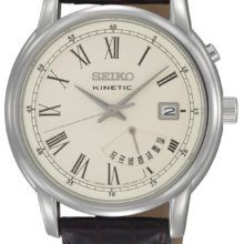 Seiko Kinetic mens with SRN033P1 leather strap watch