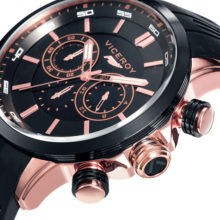 Viceroy Fernando Alonso clock man, gilded in gold, pink and black, Chronograph (47823-97)