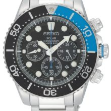 Seiko Solar watch (SSC017P1), aceri version; submersible with crowns of threads, Stopwatch