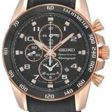 Seiko Sportura watch (SNAE80P1), Chronograph rose gold plated, in rubber