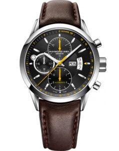 Reloj Raymond Weil Freelancer automático cronógrafo, con correa de piel marrón, ref. 7730-stc-20021