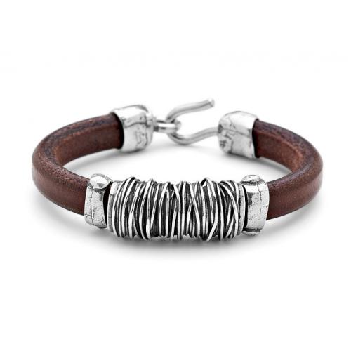 b552613a2fd5 Platadepalo  colección de pulseras de cuero y plata para hombre ...