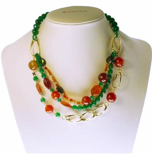 0005915f27cc Collar en plata chapada en oro y piedras naturales de diferentes colores