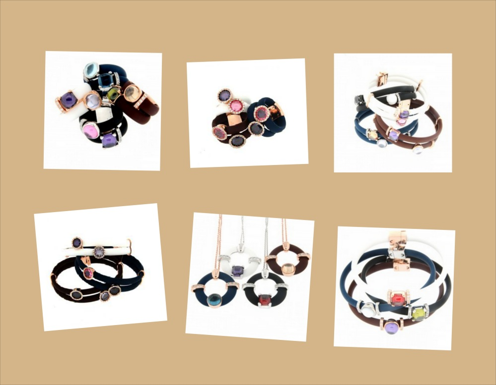 Pequeño collage con joyas (anillo, pulseras y colgantes) en plata, caucho y piedras semipreciosas de Terero