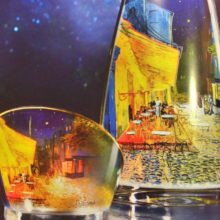 Goebel vases of glass with Van Gogh paintings