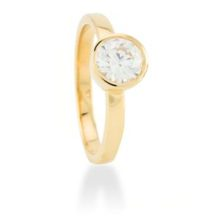 Simple silver ring golden yellow, with cubic zirconia, luxenter.