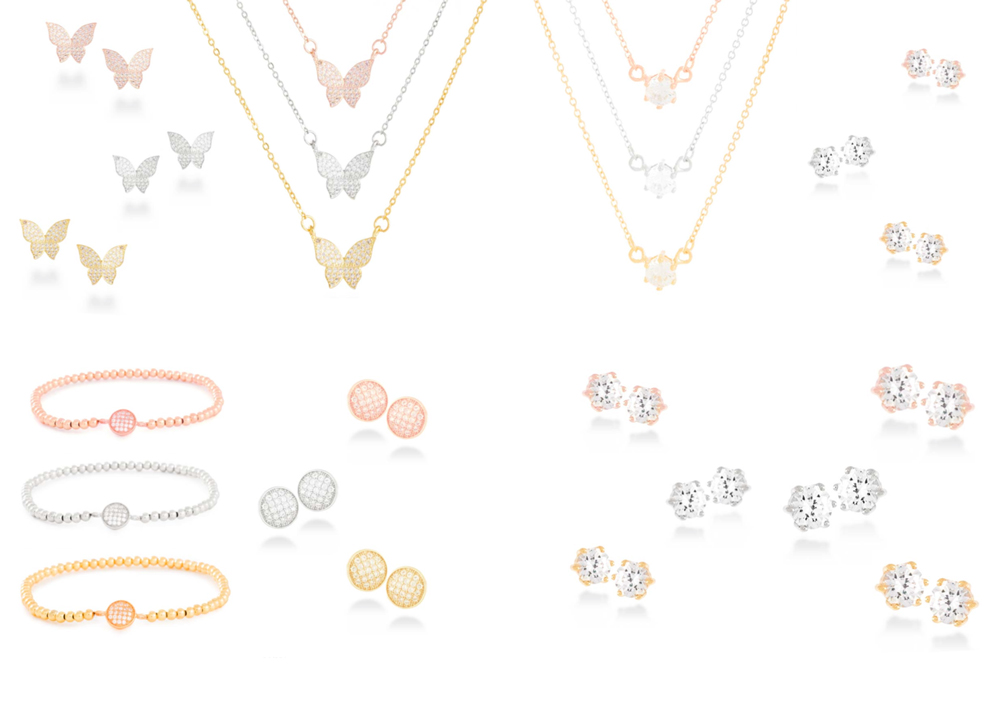 Minimalist Luxenter silver jewelry sets, with different motifs (organic, geometric or classic)