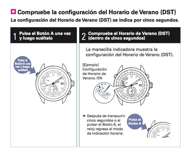 Como se ajusta la función DST (horario de verano) en un Seiko Astron GPS Solar