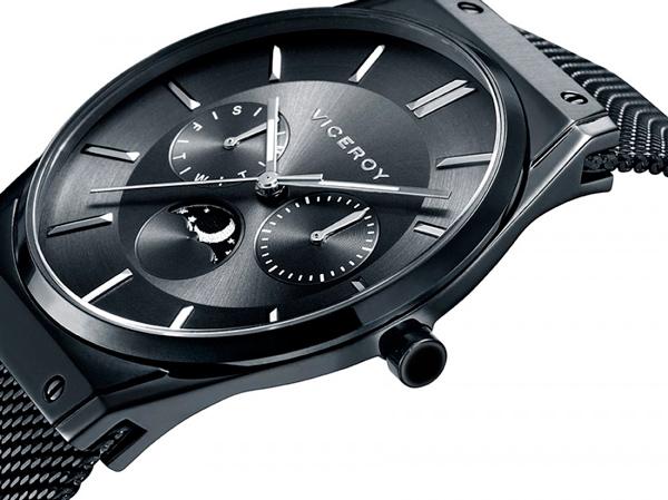 Reloj Viceroy de hombre chapado en negro, con fase lunar.