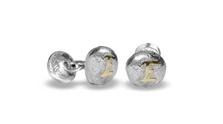 Gemelos para el Día del Padre, en plata con letra de oro, personalizables.