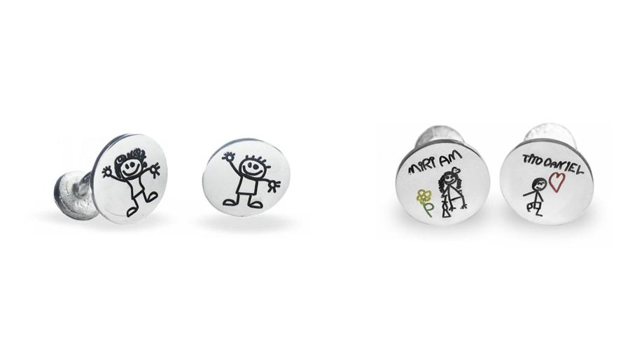 Gemelos para papás, con dibujos a elegir, de Joyería Hago.
