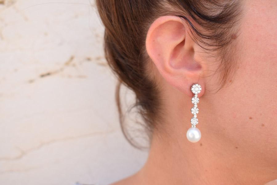 Pendientes desmontables de oro, diamantes y perlas.