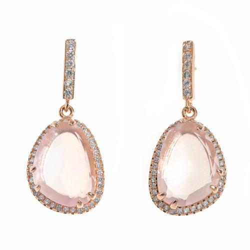 Pendientes de plata rosada con piedras, de Salvatore Plata.