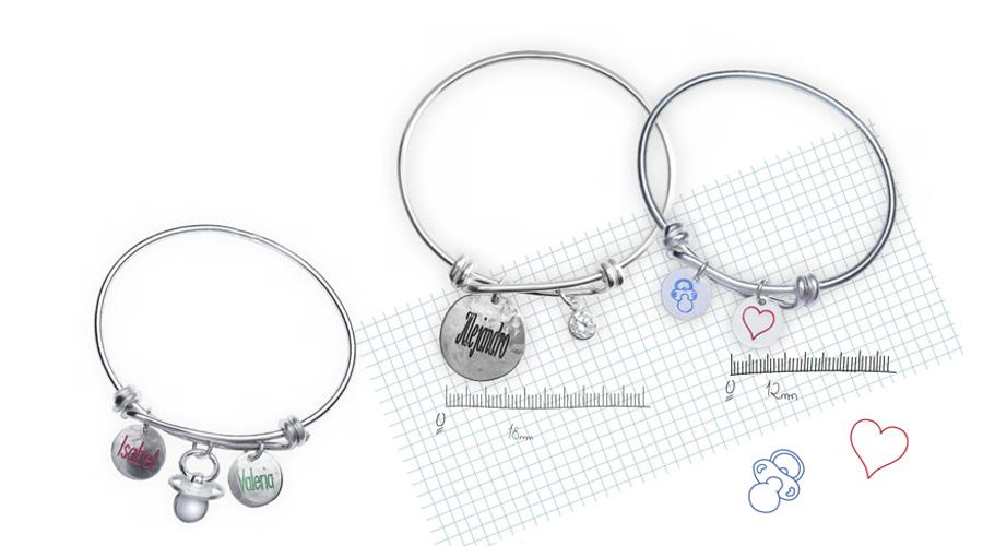 Pulseras de plata para mamás, personalizables. De Joyería Hago.