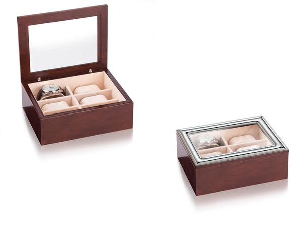 Caja para relojes en madera, cristal y plata, de Italsilver.