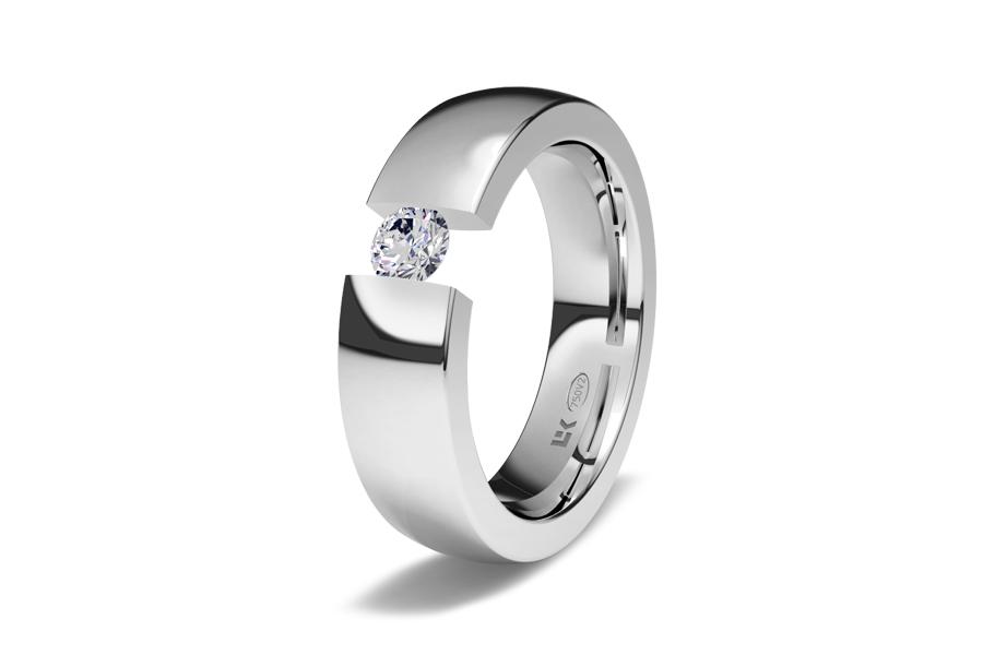 Anillo de compromiso en oro blanco brillo y engaste al aire del diamante, de eleka.