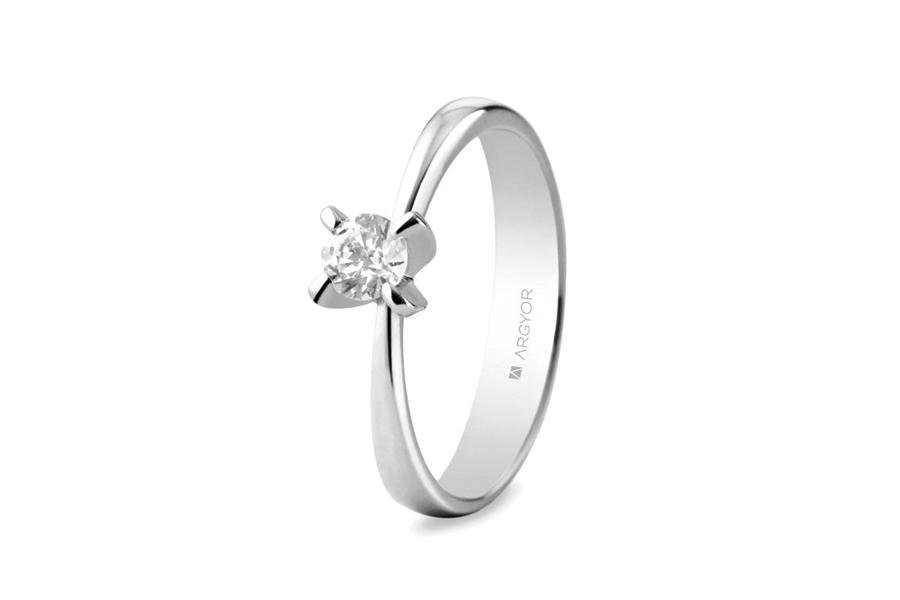 Anillo de compromiso en oro blanco y diamante de 0,34 quilates, color H, pureza SI, de Argyor.