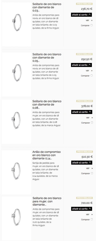 Relación de precios del modelo clásico con garras en oro blanco y distintos tamaños de diamantes.